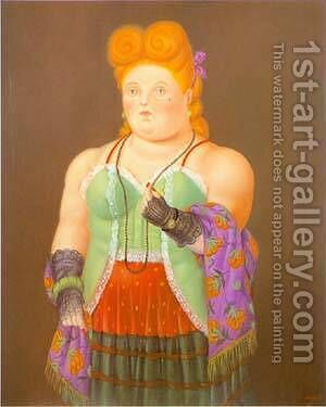 Society Lady 1994 by Fernando Botero - Reproduction Oil Painting