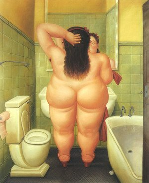 Reproduction oil paintings - Fernando Botero - The Bathroom 1989