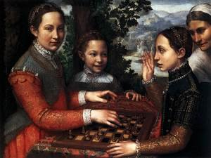 Famous paintings of Chess: Portrait of the Artist's Sisters Playing Chess 1555
