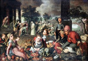 Famous paintings of Vegetables: Market Scene with Christ and the Adulteress, 1559