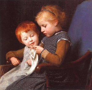 Famous paintings of Portraits: The Little Knitters, 1892