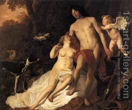 Venus and Adonis c. 1650 by Jacob Adriaensz Backer - Reproduction Oil Painting