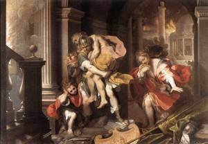 Mannerism painting reproductions: Aeneas' Flight from Troy 1598