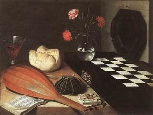 Famous paintings of Chess: Still-life with Chessboard (The Five Senses) 1630
