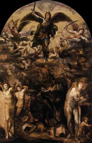 Mannerism painting reproductions: Fall of the Rebel Angels c. 1524