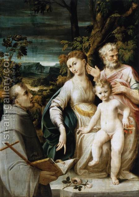 The Holy Family c. 1530 by Girolamo Mazzola Bedoli - Reproduction Oil Painting