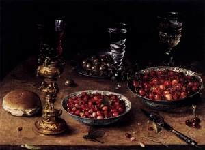 Still-Life with Cherries and Strawberries in China Bowls 1608