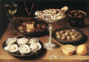 Famous paintings of Dairy & Milk: Still-Life with Oysters and Pastries 1610