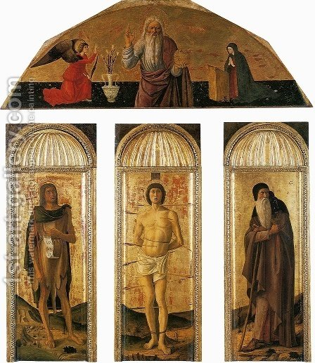 St Sebastian Triptych 1460-64 by Giovanni Bellini - Reproduction Oil Painting