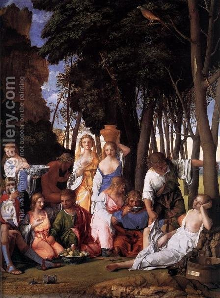 The Feast of the Gods (detail) 1514 by Giovanni Bellini - Reproduction Oil Painting