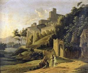 Jean-Victor Bertin reproductions - Landscape with a Fortress and a Beggar