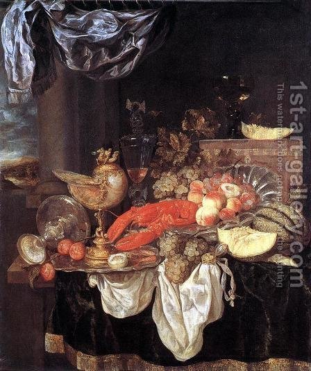 Large Still-life with Lobster 1653 by Abraham Hendrickz Van Beyeren - Reproduction Oil Painting
