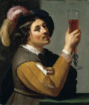 Reproduction oil paintings - Jan Hermansz. van Biljert - Young Man Drinking a Glass of Wine 1635-40