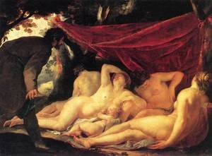 Reproduction oil paintings - Jacques Blanchard - Venus and the Three Graces Surprised by a Mortal, 1631-33
