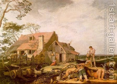 Landscape with Peasants Resting 1650 by Abraham Bloemaert - Reproduction Oil Painting