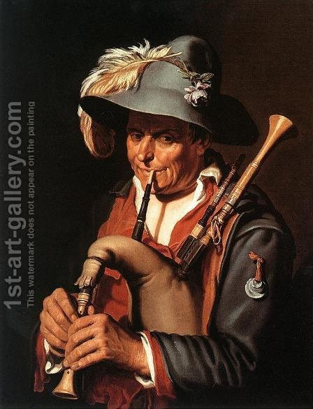 The Bagpiper by Abraham Bloemaert - Reproduction Oil Painting