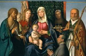 Boccaccio Boccaccino reproductions - Virgin and Child with Saints and a Donor