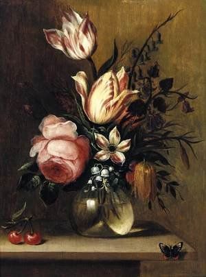 Famous paintings of Butterflies: Flowers in a Vase c. 1660