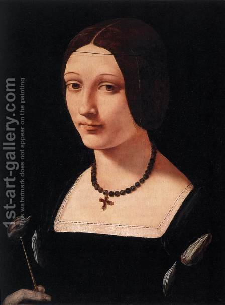 Giovanni Antonio Boltraffio: Portrait of a Lady as St Lucy c. 1500 - reproduction oil painting