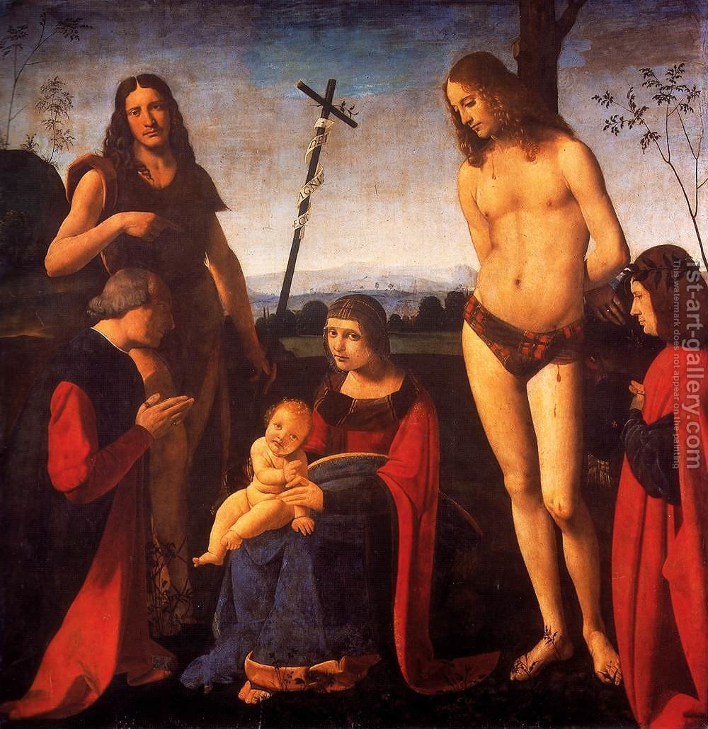 Huge version of Virgin and Child with Sts John the Baptist and Sebastian (Pala Casio) 1500