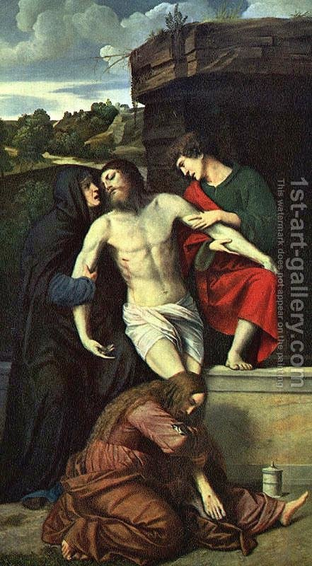 Pietà 1520 by Alessandro Bonvicino (Moretto da Brescia) - Reproduction Oil Painting