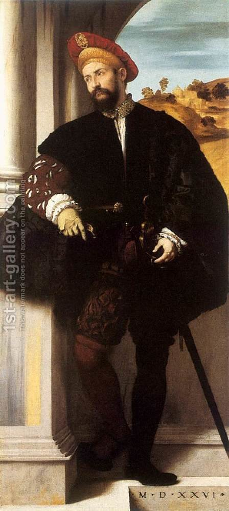 Portrait of a Gentleman 1526 by Alessandro Bonvicino (Moretto da Brescia) - Reproduction Oil Painting