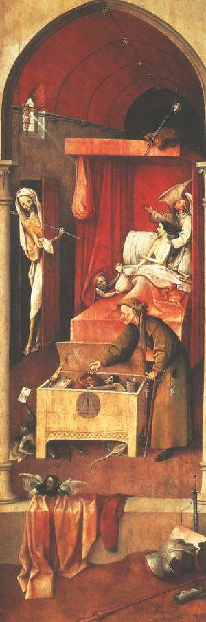 Famous paintings of Skeletons: Death and the Miser c. 1490