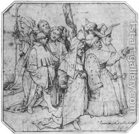 Group of Male Figures by Hieronymous Bosch - Reproduction Oil Painting