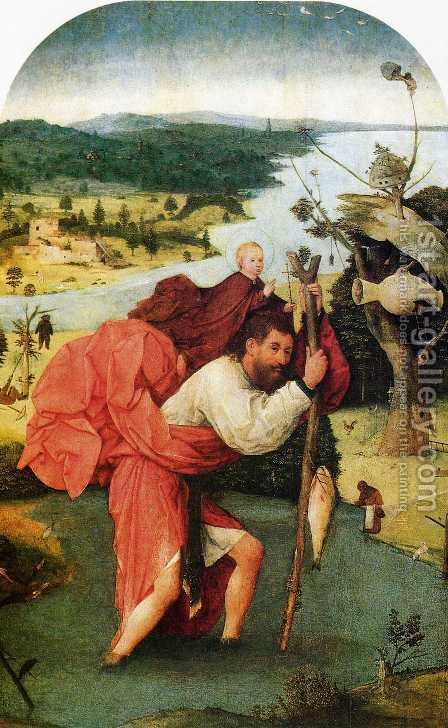 St Christopher by Hieronymous Bosch - Reproduction Oil Painting