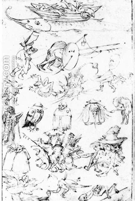 Studies of Monsters - 2 by Hieronymous Bosch - Reproduction Oil Painting