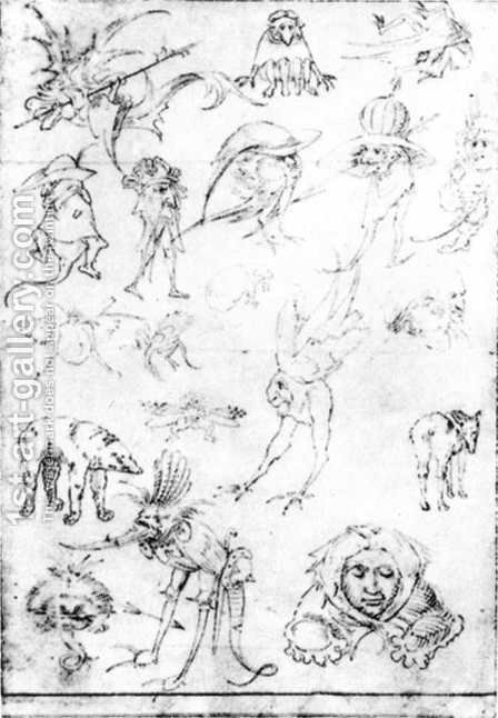 Studies of Monsters - 1 by Hieronymous Bosch - Reproduction Oil Painting