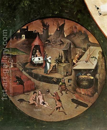 The Seven Deadly Sins (detail 1) c. 1480 by Hieronymous Bosch - Reproduction Oil Painting