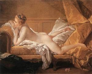 Famous paintings of Furniture: Girl Reclining (Louise O'Murphy) 1751