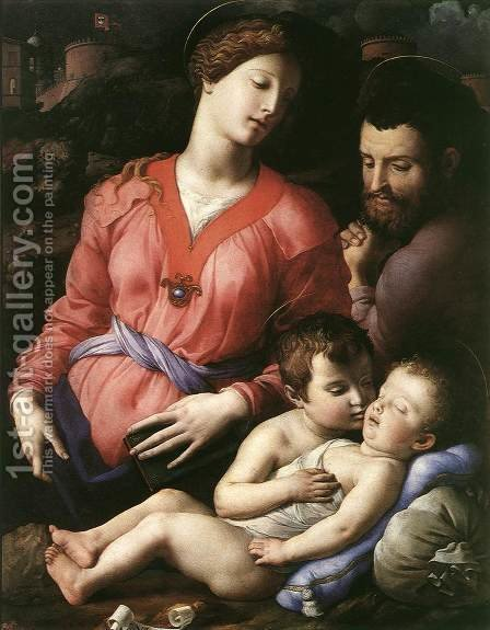 Holy Family 1555-60 by Agnolo Bronzino - Reproduction Oil Painting
