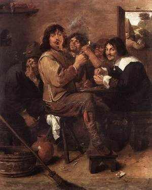 Famous paintings of Cafes & Bistros: Smoking Men c. 1637