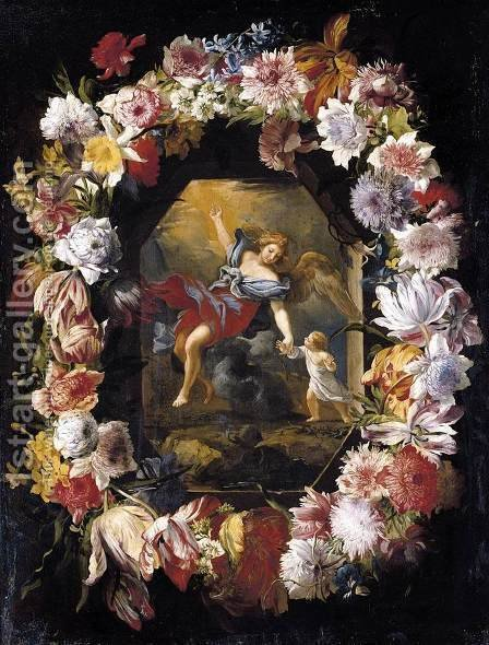 Garland of Flowers 1660s by Abraham Brueghel - Reproduction Oil Painting