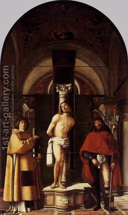 St Sebastian with St Roch and St Lawrence 1500 by Giovanni Buonconsiglio - Reproduction Oil Painting