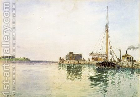 Harbor 1880s by Alfred Thompson Bricher - Reproduction Oil Painting