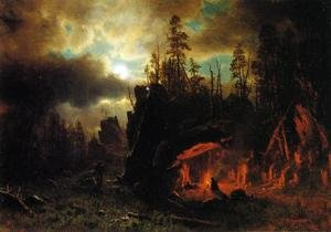 Reproduction oil paintings - Albert Bierstadt - The Trappers' Camp 1861