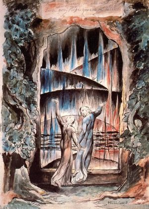 William Blake reproductions - Dante and Virgil at the Gates of Hell (Illustration to Dante's Inferno)