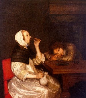 Famous paintings of Taverns: Woman Drinking with Sleeping Soldier 1660s