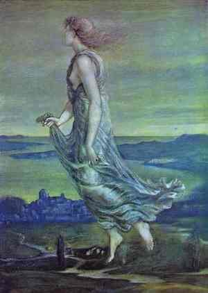 Pre-Raphaelites painting reproductions: Evening Star 1870