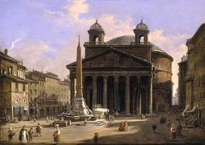Famous paintings of Squares and Piazzas: View of the Pantheon Rome