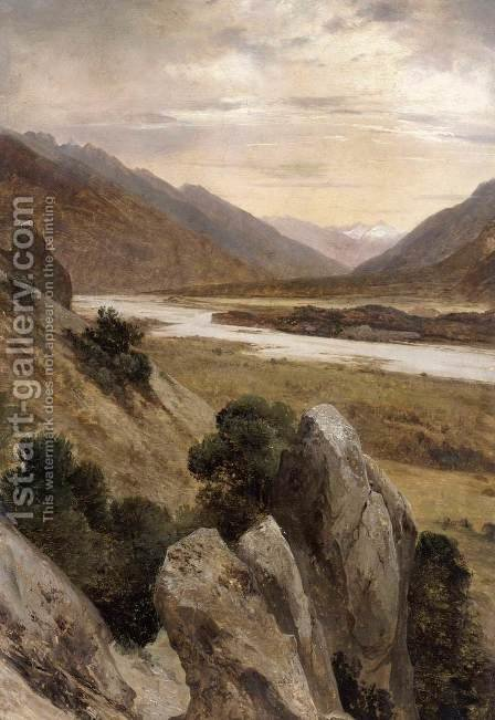 Mountainous Landscape with a Torrent 1840 by Alexandre Calame - Reproduction Oil Painting