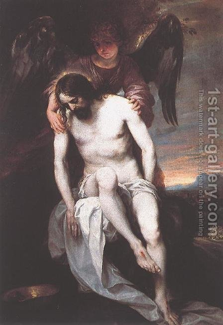 The Dead Christ Supported by an Angel 1646-52 by Alonso Cano - Reproduction Oil Painting
