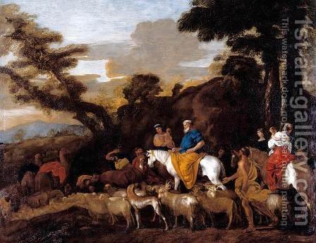 Jacob Leading the Flocks of Laban c. 1632 by Giovanni Benedetto Castiglione - Reproduction Oil Painting
