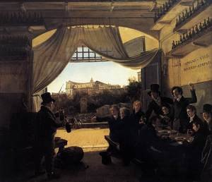 Famous paintings of Taverns: Crown Prince Ludwig in the Spanish Wine Tavern in Rome 1824