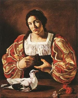 Cecco Del Caravaggio reproductions - Woman with a Dove 1610s