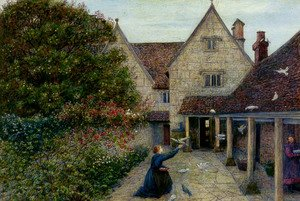 Reproduction oil paintings - Maria Euphrosyne Spartali, later Stillman - Feeding The Doves At Kelmscott Manor, Oxfordshire