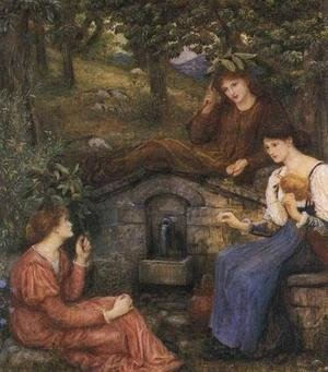 Reproduction oil paintings - Maria Euphrosyne Spartali, later Stillman - By a Clear Well with a Little Field 1883